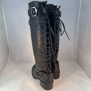 Bumper Shoes - Bumper Tall Lace up Back Moto/Combat Style Boot